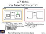 isf rules the export style part 2