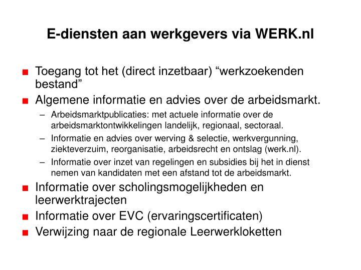 E-diensten aan werkgevers via WERK.nl