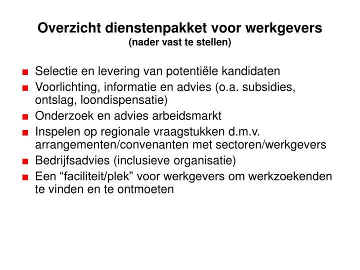 Overzicht dienstenpakket voor werkgevers