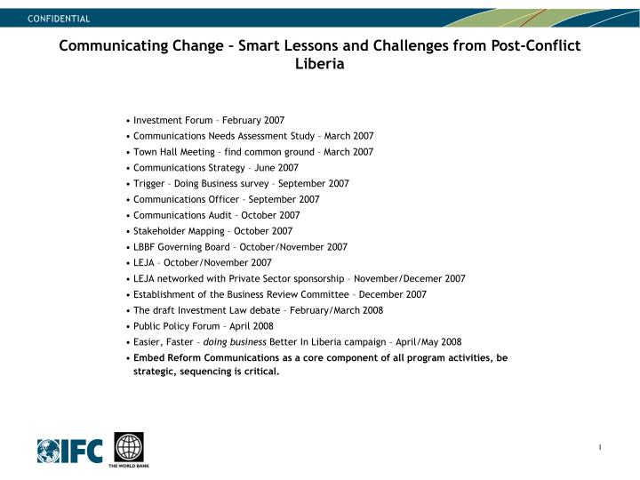 Communicating Change – Smart Lessons and Challenges from Post-Conflict Liberia