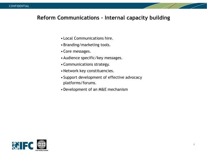 Reform Communications – Internal capacity building
