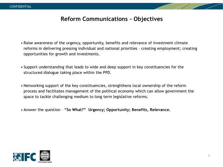 Reform Communications - Objectives
