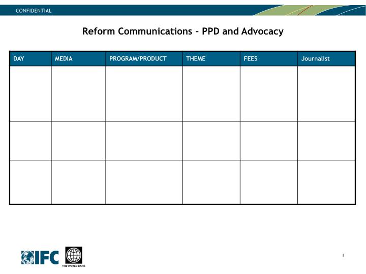 Reform Communications – PPD and Advocacy