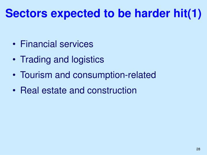 Sectors expected to be harder hit(1)