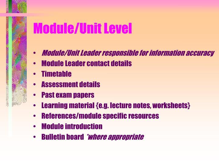 Module/Unit Level