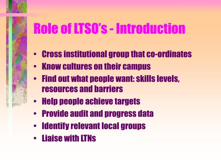Role of LTSO's - Introduction