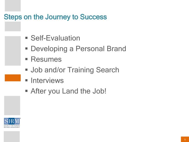 Steps on the Journey to Success