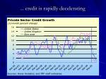 credit is rapidly decelerating