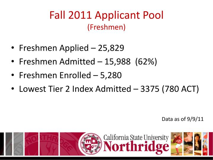 Fall 2011 applicant pool freshmen