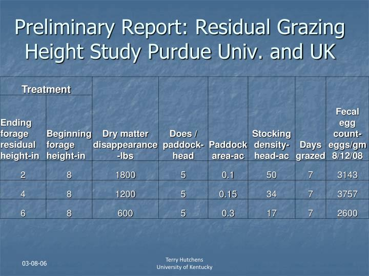 Preliminary Report: Residual Grazing Height Study Purdue Univ. and UK
