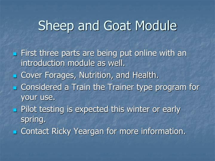 Sheep and Goat Module