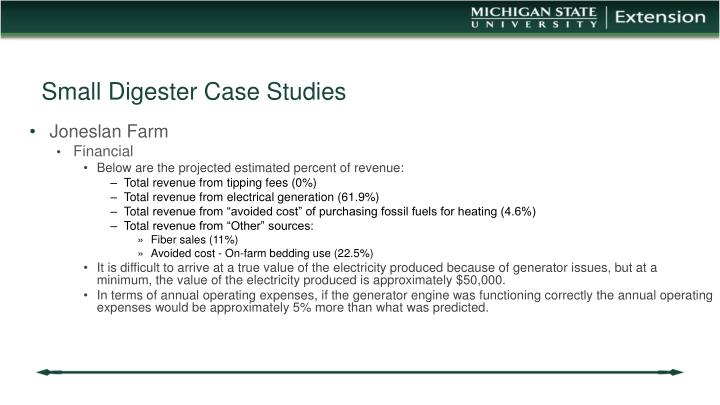 Small Digester Case Studies