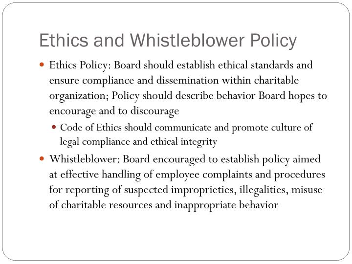 Ethics and Whistleblower Policy