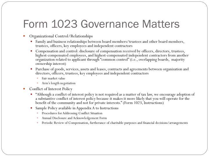 Form 1023 Governance Matters