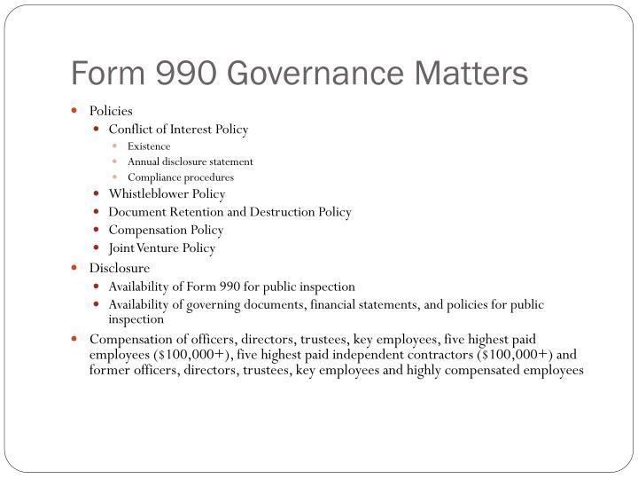 Form 990 Governance Matters