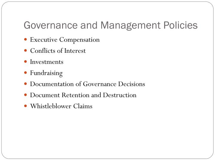 Governance and Management Policies