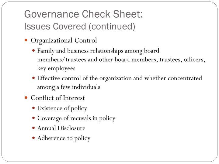 Governance Check Sheet: