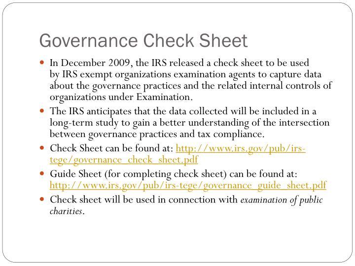 Governance Check Sheet