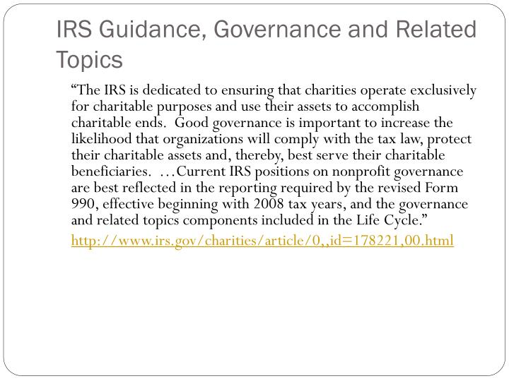 IRS Guidance, Governance and Related Topics