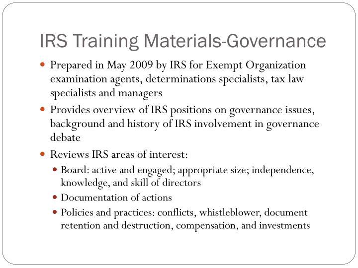 IRS Training Materials-Governance
