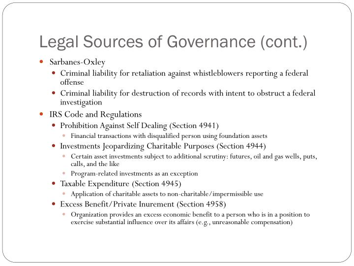 Legal Sources of Governance (cont.)