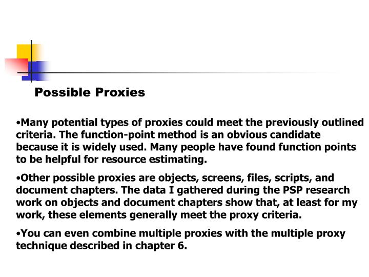 Possible Proxies