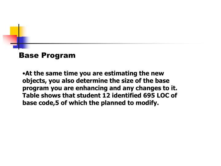 Base Program
