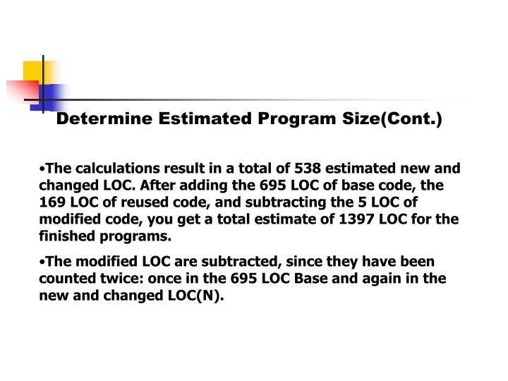 Determine Estimated Program Size(Cont.)