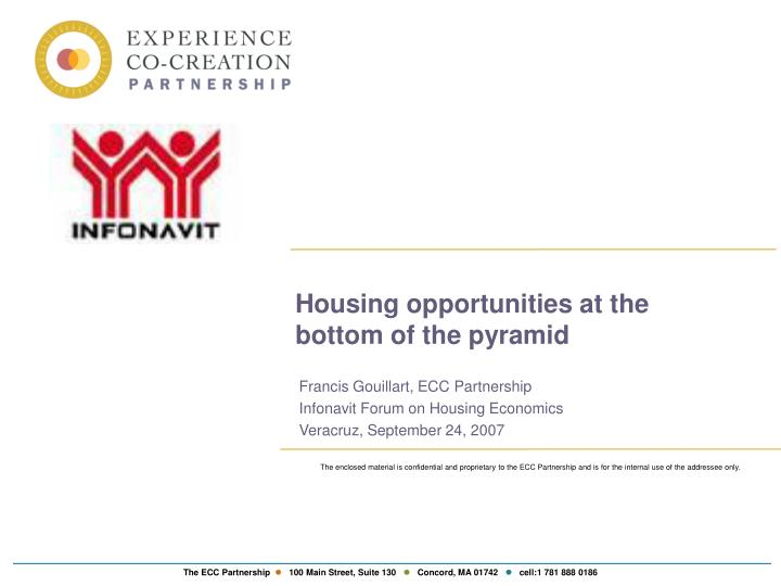 housing opportunities at the bottom of the pyramid n.