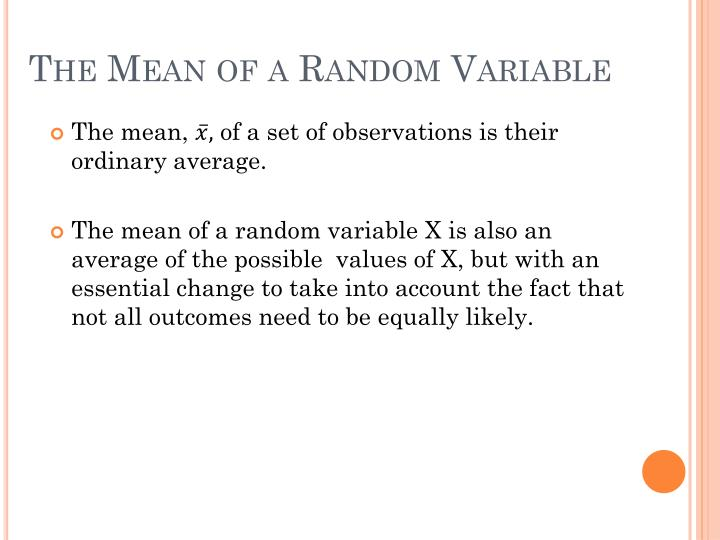 The Mean of a Random Variable