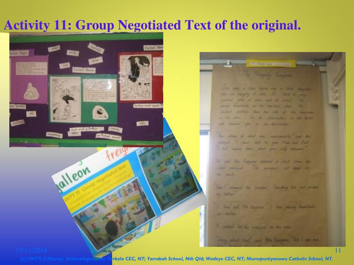Activity 11: Group Negotiated Text of the original.