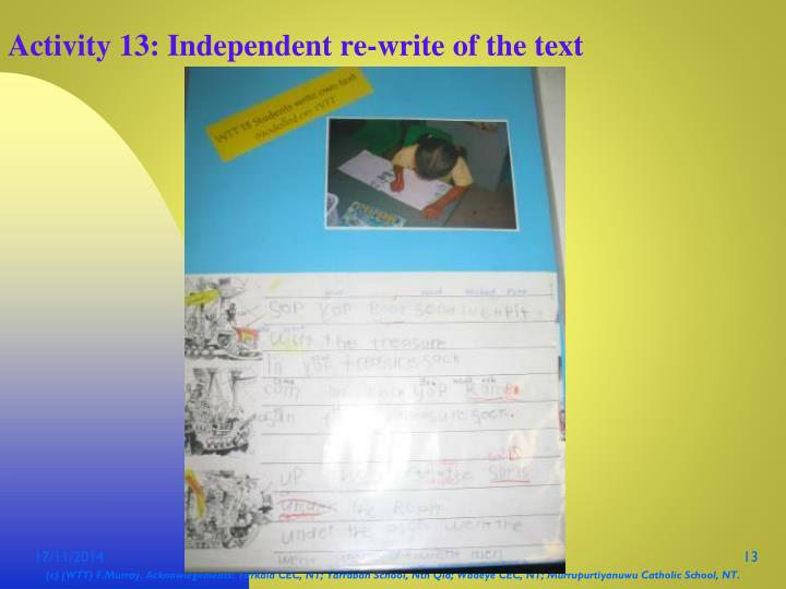 Activity 13: Independent re-write of the text