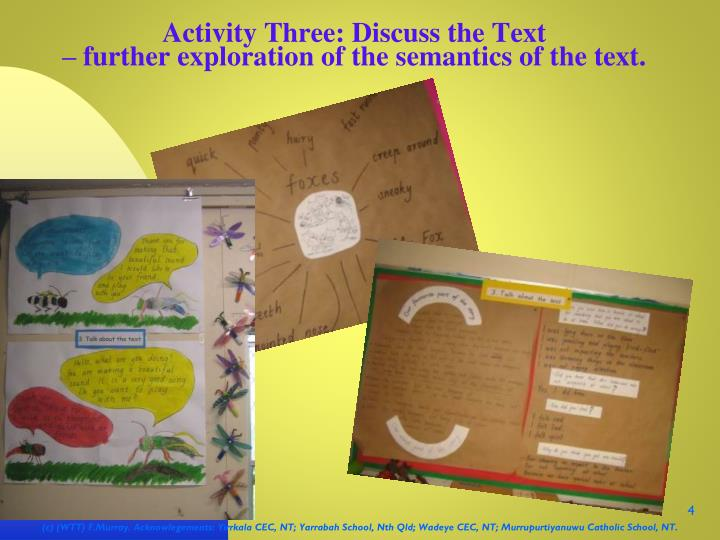Activity Three: Discuss the Text