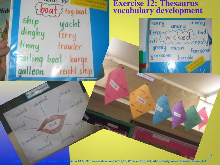 Exercise 12: Thesaurus – vocabulary development