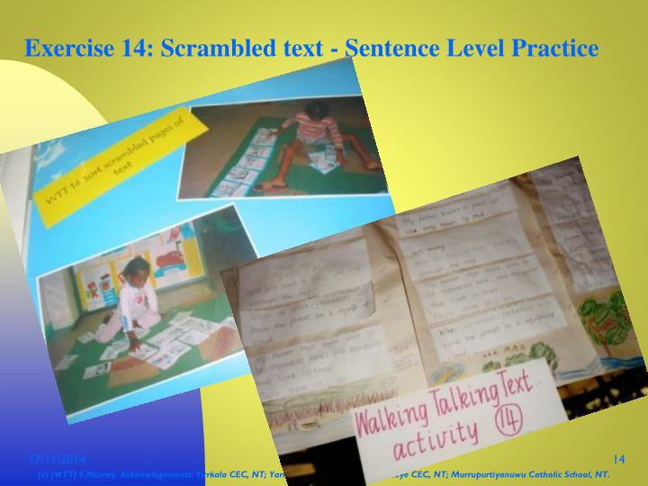 Exercise 14: Scrambled text - Sentence Level Practice