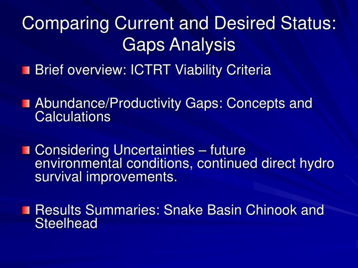 Comparing current and desired status gaps analysis