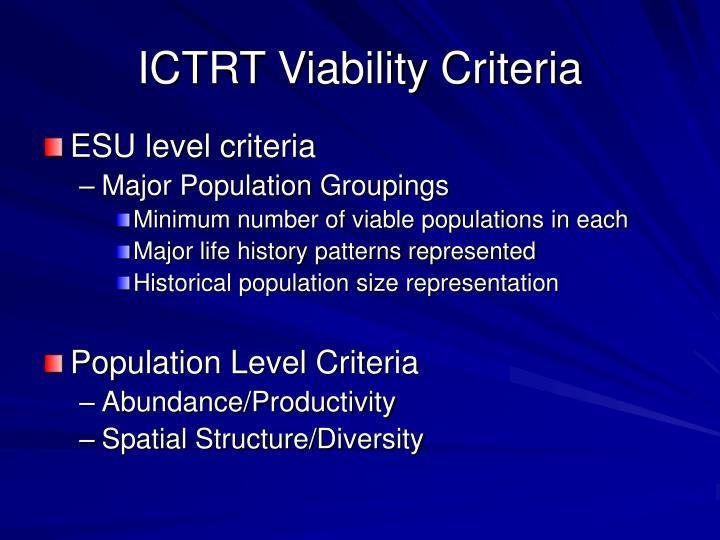 ICTRT Viability Criteria