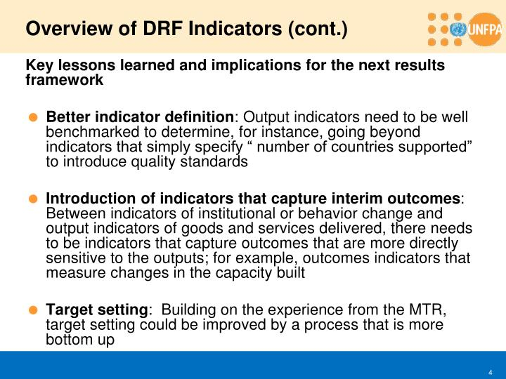 Overview of DRF Indicators (cont.)
