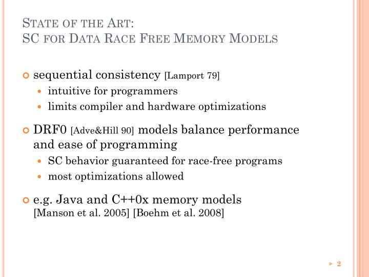 State of the art sc for data race free memory models
