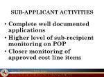 sub applicant activities
