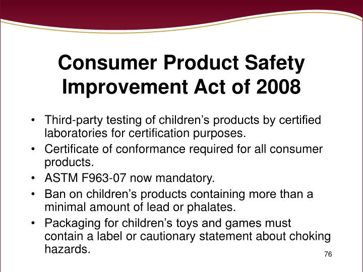 Consumer Product Safety Improvement Act of 2008
