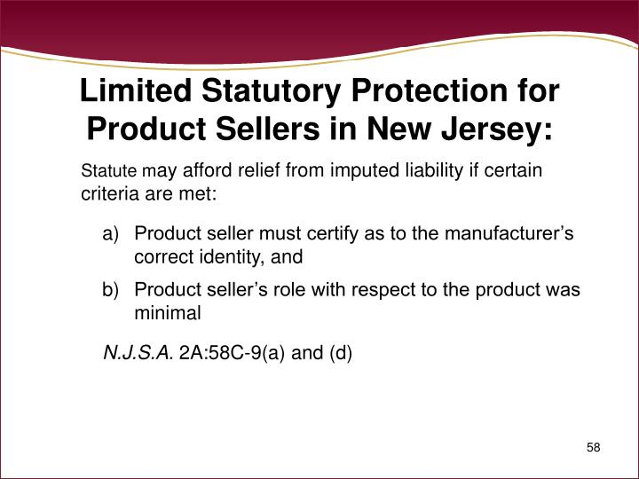 Limited Statutory Protection for Product Sellers in New Jersey: