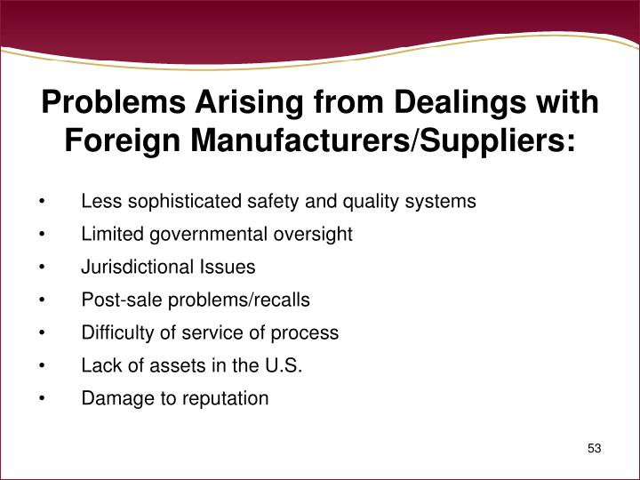 Problems Arising from Dealings with Foreign Manufacturers/Suppliers: