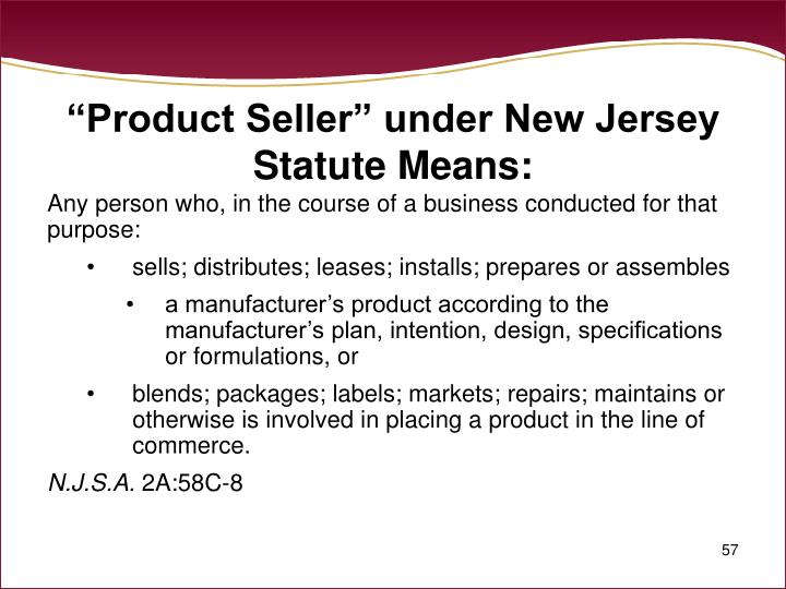 """Product Seller"" under New Jersey Statute Means:"