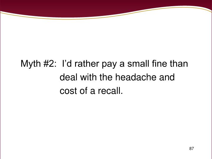 Myth #2:  I'd rather pay a small fine than