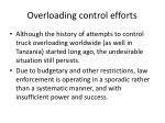 overloading control efforts