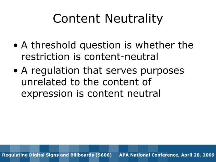Content Neutrality
