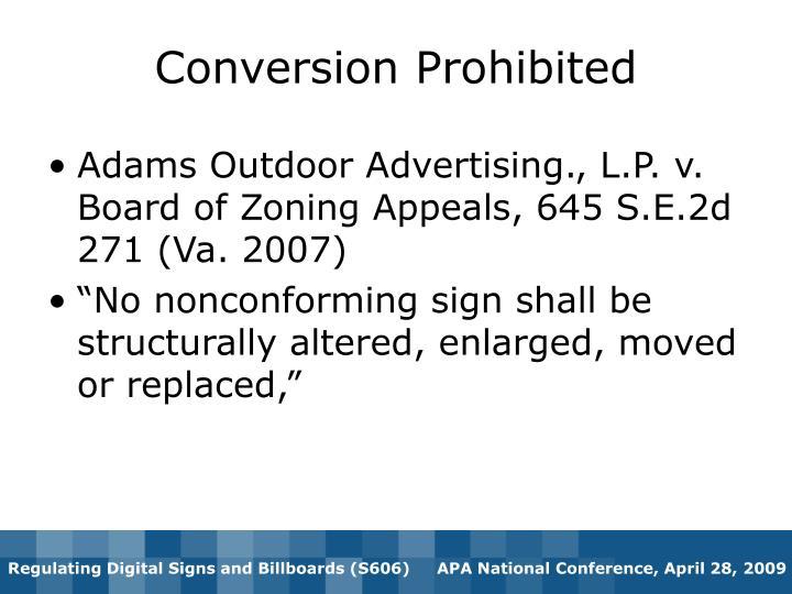 Conversion Prohibited