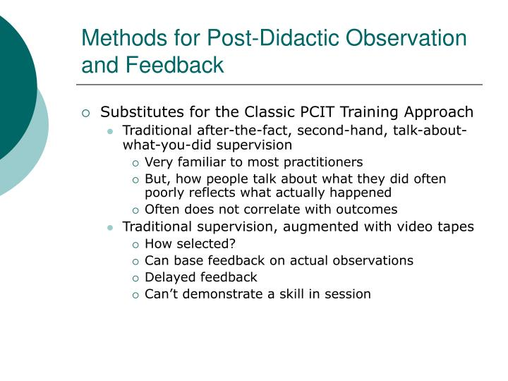 Methods for Post-Didactic Observation and Feedback