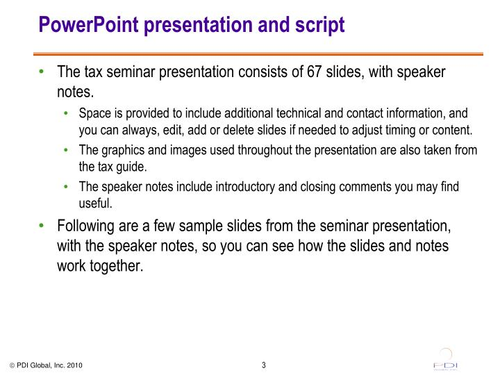 Powerpoint presentation and script